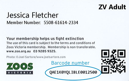 Member Card with barcode example - old